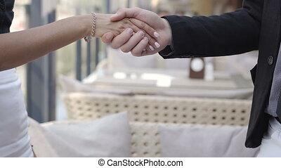 partenaires, gros plan, business, poignée main, contrat,...