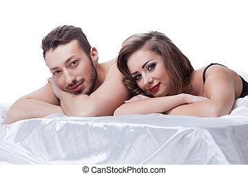 partenaires, jeune, lit, séduisant, sexuel, mensonge