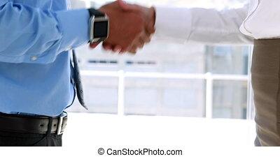 partenaires, mains secouer, business