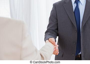 partenaires, mains secouer, nouveau