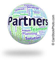 partenaires, mot, travailler ensemble, groupe, spectacles
