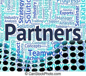 partenaires, mot, travailler ensemble, indique, coopération