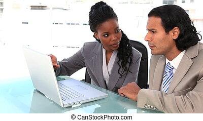 partenaires, ordinateur portable, business, séance