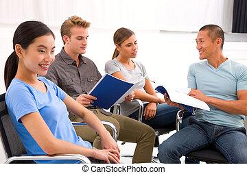 partenaires, papiers, discussion affaires, réunion