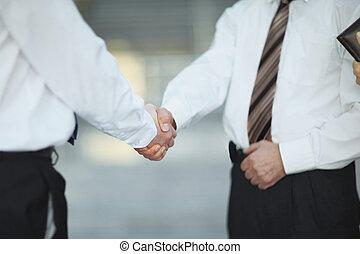 partenaires, poignée main, business, bureau., réunion, closeup.