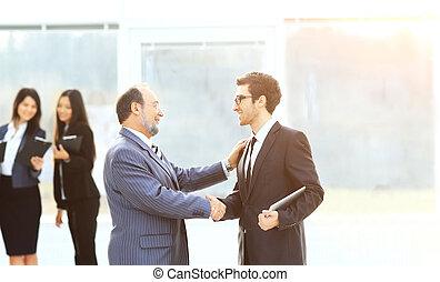 Partenaires, poignée main,  Business, Travail, contre, fond, équipe, réunion