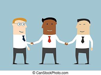 partenaires, poignée main, multiethnic, business