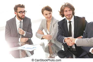 partenaires, poignée main, réunion, business