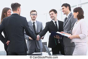 Partenaires, poignée main, réunion,  Business, avant