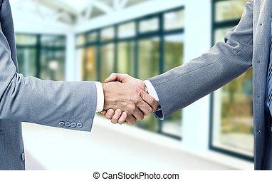 partenaires, prometteur, business, poignée main, contrat, photo, signer, après