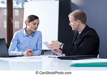 partenaires, réunion, avoir, business
