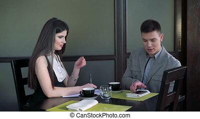 partenaires, réunion, business, entre