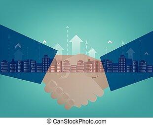 partenaires, secousse, mains affaires
