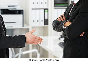 partenaires, travail, deux, essayer, entre, poignée main