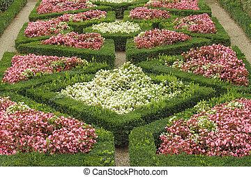 parterre fleurs, géométrique, unesco, boboli, florence, mondiale, jardins, h