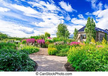 parterre fleurs, jardin botanique