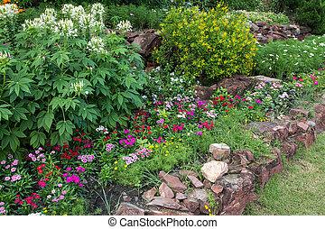parterre fleurs, jardin, coloré
