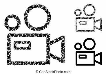 partes, ícone, mosaico, câmera, raggy
