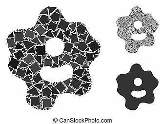 partes, ameba, icono, composición, tuberoso