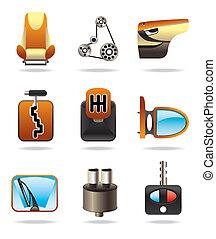 partes, car, ícone, jogo