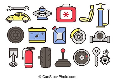 partes carro, ferramentas, serviço, isolado, automático, ícones, reparar
