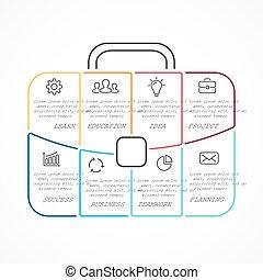 partes, cartera, lineal, processes., viaje, gráfico,...