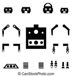 partes, jogo, robô, ícone