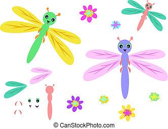 partes, mezcla, flores, libélulas