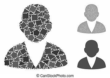 partes, mosaico, ícone, cliente, raggy