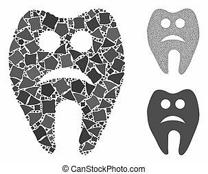 partes, mosaico, ícone, triste, dente, raggy