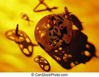 partes, oxidado, reloj