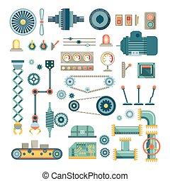 partes, vector, maquinaria, robot, conjunto, iconos, plano