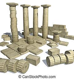 parth, grec, ruines, render, 3d