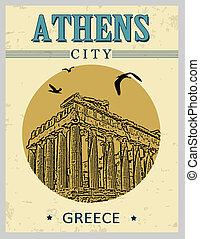parthenon, から, アテネ, ポスター