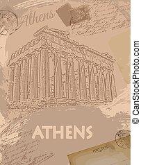 parthenon, から, アテネ, レトロ, ポスター