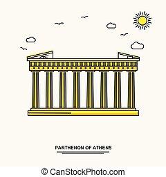 parthenon, の, アテネ, 記念碑, ポスター, template., 世界 旅行, 黄色, イラスト, 背景, ライン, スタイル, ∥で∥, beauture, 自然場面