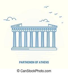 parthenon, の, アテネ, 青, landmark., 創造的, 背景, そして, ポスター, テンプレート