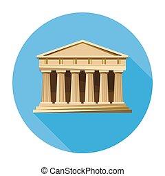 parthenon, 裁判所, 銀行, 建築, アイコン