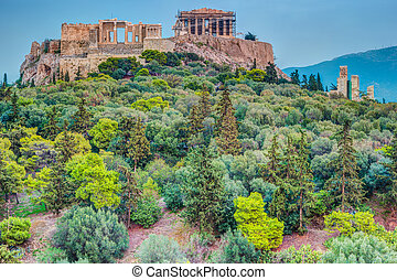Parthenon and Herodium construction in Acropolis Hill in Athens