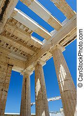 Parthenon columns at sky background