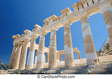 Parthenon columns at sky background