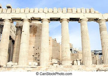 Parthenon Columns - The Parthenon at the Acropolis of Athens...