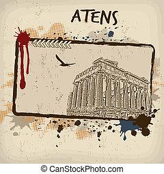 Parthenon from Athens retro poster