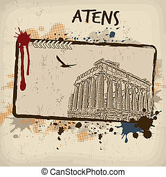 Parthenon from Athens retro poster