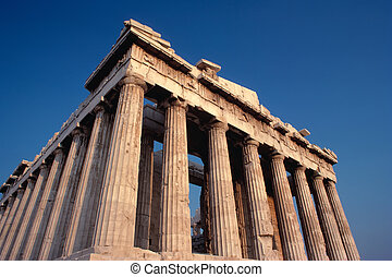 Parthenon in Greece using a polarizing filter