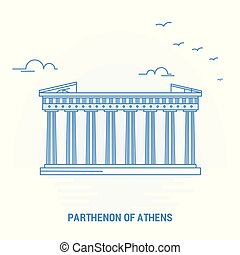 PARTHENON OF ATHENS Blue Landmark. Creative background and Poster Template