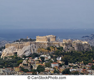 Parthenon temple, Acropolis Athens Greece - north view of...