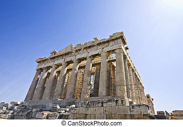 Parthenon temple at the Acropolis of Athens in Greece (...