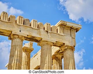 Parthenon temple at the Athenian Acropolis. Athens. Attica,...