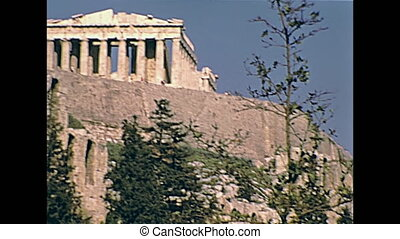 Parthenon temple Athens - Ground view from the road of the...